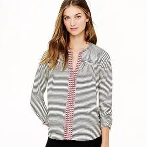 J. Crew Embroidered Peasant Boho Top in Stripe